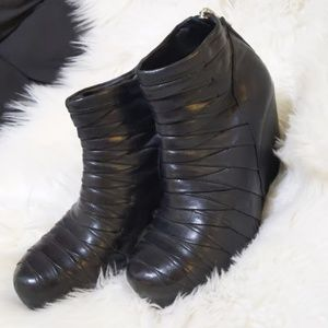Rick Owens pleated wedge boots